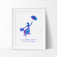 Mary Poppins Quote Watercolor Art Print