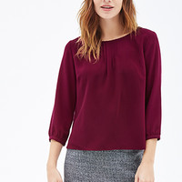 FOREVER 21 Button-Down Back Blouse Magenta