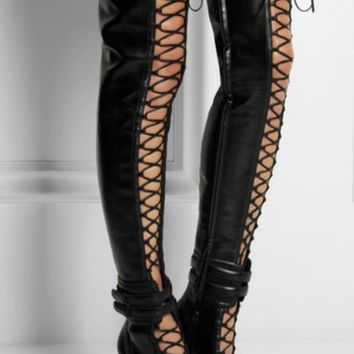 Point Toe Lace Up Over The Knee Ankle Buckles High Heel Black Leather Thigh Boot