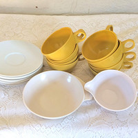 Yellow Melamine Melmac Melamine Dishes Melmac Cups Set Yellow Tea Cup Yellow Teacup Yellow Kitchen Decor Serving Set Yellow Melmac Dishes