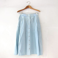 Vintage Light Wash Jean Skirt. Mini Length Skirt. Button Front Skirt. High Waist. Long Washed Out Skirt. Bohemian Cowgirl.