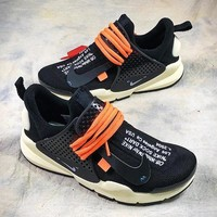 OFF WHITE Nike Sock Dart Black Orange Sport Running Shoes 819686-051 - Best Online Sale