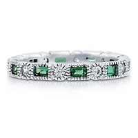 Emerald Cubic Zirconia Sterling Silver Alternate Full Eternity Ring #r262-em