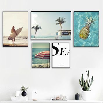 Girl Surfboard Pineapple Beach Seascape Wall Art Canvas Painting Nordic Posters And Prints Wall Pictures For Living Room Decor