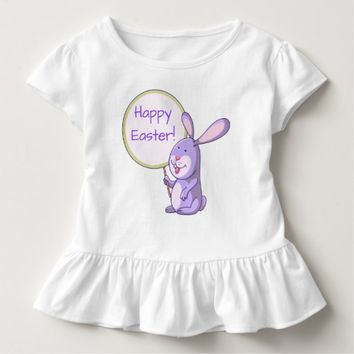 Lavender Pink Bunny with Board Toddler Ruffle Tee