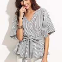 Black And White Stripe Bow Wrapped Blouse -SheIn(Sheinside)
