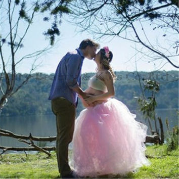 New Pink Maternity Party Ball Gown Dress Photography Props Violet Tutu Dress for Pregnant Women Photo Shoot Dress Studio Clothes