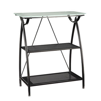 Office Star Products NWP27-BK Newport Black Two-Shelf Bookcase with Frosted Tempered Glass Top