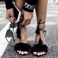 2016 Brand Tassel Fringe Suede Women Sandals Lace Up Ankle Strappy High Heels Prom Wedding Shoes Woman Sandalias Free shipping