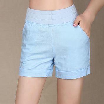 2017 fashion candy color summer shorts women casual cotton breathable stretch short feminino  plus size ladies high waist shorts