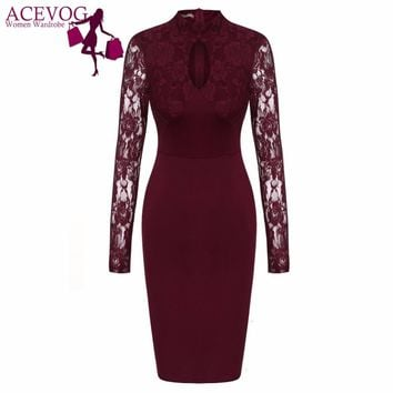 ACEVOG Bodycon Dress Women's 2017 Autumn Stand Collar Lace Patchwork Long Sleeve Hollow Out Party Pencil Dresses Slit Back Robe