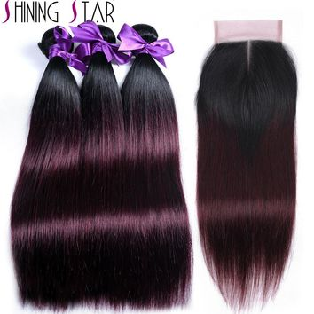 Ombre Brazilian Hair Weave 3 Bundles With Closure 1B Purple Red/Burgundy Color Shining Star Non Remy Hair Extension No Tangle