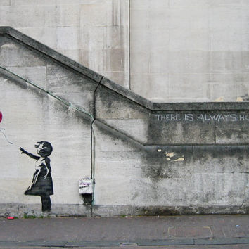 Graffiti Art by Banksy, There Is Always Hope, Balloon Girl, Various Sizes, Giclee Print on Canvas