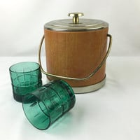 Mid Century Barware  Ice Bucket Classy Silver & Tan Leatherette Ice Bucket American Vintage Irvinware Barware Made in USA