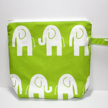 Medium Wet Bag, Diaper Bag, Reusable, Cloth Diapering, Green, Elephants