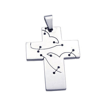 Stainless Steel Cross Cutout Heart Charm Pendant: SOD