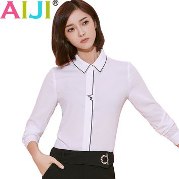 Plus size long sleeve blouse women OL elegant solid bow tie turn-down collar formal chiffon shirts office ladies work wear tops