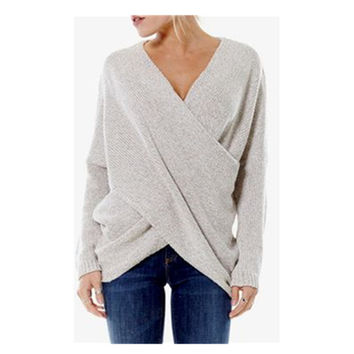 Pullover Cross Layered Over Long Sleeve Lrregular V-neck Knit Tops Sweater [9609590799]