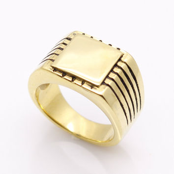 Fine Jewelry Men's High Polished Signet Solid Stainless Steel Ring 316L Stainless Steel Biker Ring For Men 18K Gold Jewelry