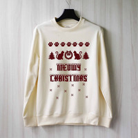 Meowy Christmas SweatShirt Sweat Meow Shirt Cat Sweater Shirt – Size XS S M L XL