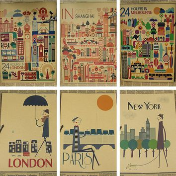 Simple City London New York Paris Overseas Retro Kraft Paper Bar Cafe Restaurant Decorative Poster/wall sticker/kraft poster