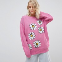 Willow And Paige Oversized Sweater With Daisy Design at asos.com