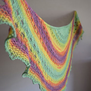 Cotton shawl in mint, purple and yellow, soft spring scarf, womens scarf, lace shawl, shouldercover, crescent shape
