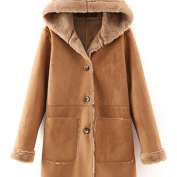 Camel Hooded Front Button Long Coat with Pocket