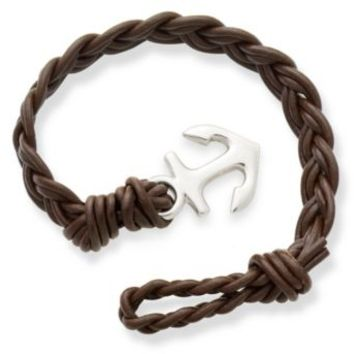Dark Brown Woven Braided Leather Bracelet with Anchor Clasp | James Avery