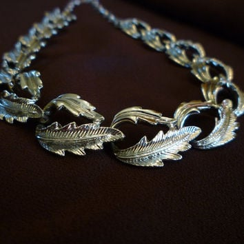 Silver Tone Leaf Necklace, 1950s Link Necklace, Vintage Silver Tone Jewelry