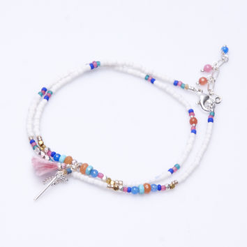 Double Row Anklet with Charms