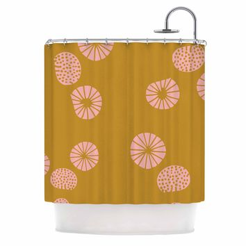 "bruxamagica ""Dandelion Mustard"" Yellow Pink Abstract Polkadot Digital Illustration Shower Curtain"