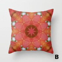 Autumn maple leaf mandala throw pillow cover, all occasion gift, scarlet, orange, gold, fall sugar maple,home decor, living room, bedroom