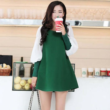 The New Autumn And Winter Maternity Korean Fashion Dress Loose Bubble Sleeve Skirt = 1946693572