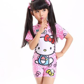 DCCKHG7 2017 Baby girl one piece swimsuit bow kids bikini set cartoon children swimming toddler beach clothing with hat bathing suit