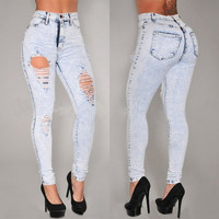 New Sexy Women Denim Skinny Pants High Waist Stretch Jeans Slim Pencil Trousers = 5708481217