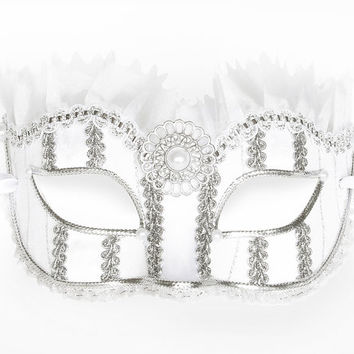 White And Silver Masquerade Mask - Fabric Covered Venetian Mask Decorated With Brooch, Faux Pearls, Silver And White Tulle