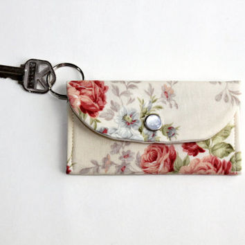 Rose Keychain ID Wallet, Student ID Holder in Cream and Red Roses, Key Ring Cardholder, Dorm Key Ring Wallet with Free Shipping