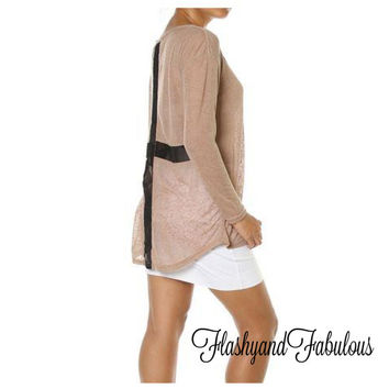 Taupe Cross Back Top - Light Weight Taupe Sweater - Summer Sweater