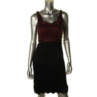 Sue Wong Womens Embellished Sleeveless Cocktail Dress