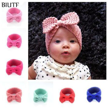 ESB1ON 16pcs/lot Fashion Crochet Woolen Yarn Headband Knitted Turban Hairband Hair Accessories Newborn girl Winter Headwear FDA235