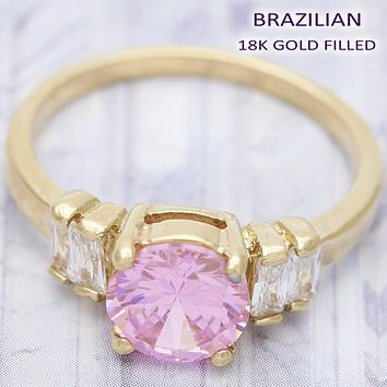 Gold Layered Women Baguette Multi Stone Ring, with Rhodolite Cubic Zirconia, by Folks Jewelry