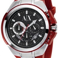 Armani Exchange Chronograph Black Dial Red Rubber Mesn Watch AX1040