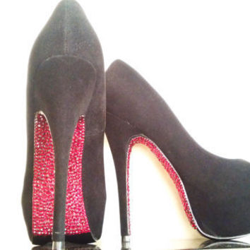 Custom Red Bottom Bling Heels by DaedreamDesigns on Etsy