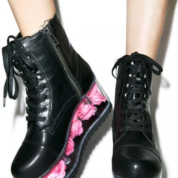 X DOLLS KILL G.I. ROSE PLATFORM BOOTS