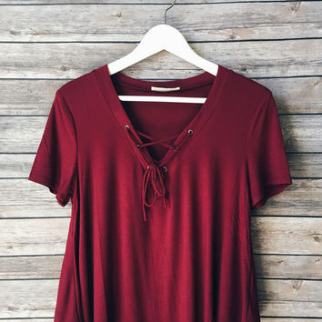 Claudia Lace Up Tee (Burgundy)