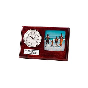Cherry Silver Bezel Clock 3 x 3 Photo Frame and Silver Engraving Plate. Great Retirement Gift, Wedding Gift or Employee Recognition Award