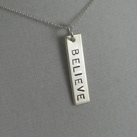 BELIEVE 18 inch Sterling Silver - Believe Necklace on 18 inch Sterling Silver Ball chain - I Believe