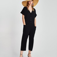 SHORT SLEEVE JUMPSUIT WITH POCKETSDETAILS