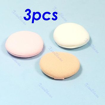 3pcs Beauty Facial Face Soft Sponge Makeup Cosmetic Round Powder Puff Pad
